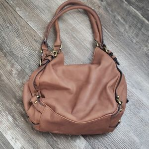 Merona brown leather look satchel non leather bag